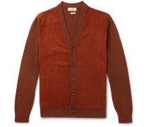 Slim-fit Suede-panelled Merino Wool Cardigan - Orange