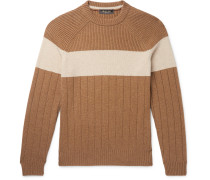 Slim-Fit Striped Ribbed Cashmere Sweater