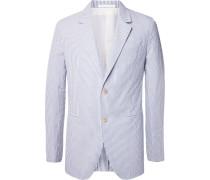 Blue Butterfly Slim-fit Unstructured Striped Cotton-seersucker Blazer
