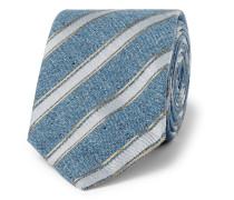 8cm Striped Mélange Silk And Cotton-blend Tie - Blue