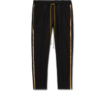 Black Traxedo Slim-Fit Tapered Satin-Trimmed Jersey Drawstring Trousers