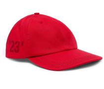 Printed Cotton-twill Baseball Cap - Red