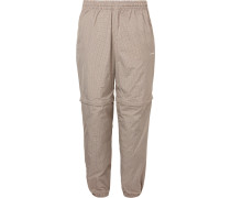Checked Shell Convertible Sweatpants - Neutral