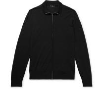 Wool Zip-up Cardigan - Black