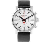 Evo Stainless Steel And Leather Chronograph Watch