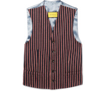 Slim-fit Striped Wool And Cotton-blend Waistcoat