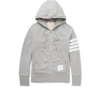Striped Loopback Cotton-jersey Zip-up Hoodie - Gray