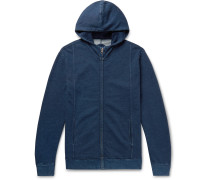 Indigo-Dyed Loopback Cotton-Jersey Zip-Up Hoodie