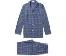 Gingham Brushed-cotton Pyjama Set - Navy