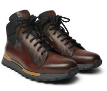Fast Track Leather And Jacquard-shell Hiking Boots - Brown