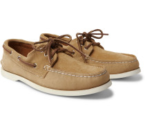 Downeast Suede Boat Shoes - Beige
