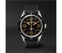 BR 123 Sport Heritage Automatic Steel and Rubber Watch, Ref. No. BRV123-ST‐HER/SRB