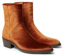 Snake-effect Velvet Boots