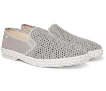 Cotton-mesh And Canvas Espadrilles - Gray
