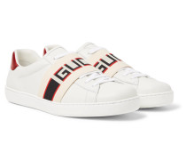Logo-print Leather Sneakers - White