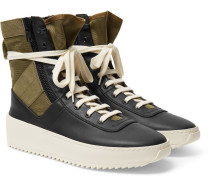 Jungle Leather And Canvas High-top Sneakers