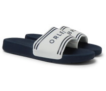 Haddon Logo-embossed Canvas And Rubber Slides - Navy