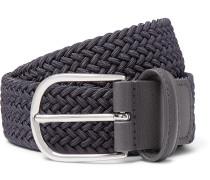 3.5cm Dark-Grey Leather-Trimmed Woven Elastic Belt