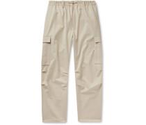 Wide-Leg Wool-Blend Drawstring Cargo Trousers