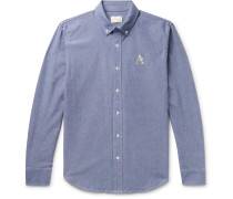 Button-Down Collar Logo-Embroidered Cotton Oxford Shirt