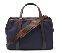 The Reporter Leather-Trimmed Waxed-Cotton Briefcase