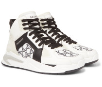 B-Ball Logo-Print Panelled Leather Sneakers