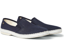 Cotton-mesh And Canvas Espadrilles - Navy