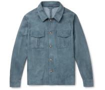 Slim-Fit Suede Shirt Jacket