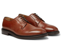 Lucien Polished-leather Derby Shoes - Tan