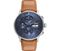 Meister Chronoscope 40mm Stainless Steel And Leather Watch - Blue