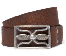 3.5cm Brown Hawkins Leather Belt - Brown