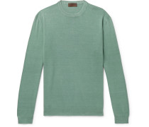 Slim-fit Linen And Cotton-blend Sweater - Green