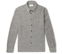 Micro-Checked Virgin Wool-Blend Flannel Shirt