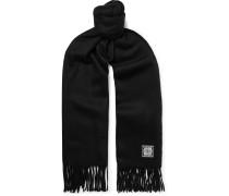 Logo-appliquéd Wool And Cashmere-blend Scarf - Black