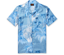 Camp-collar Printed Silk-twill Shirt - Blue