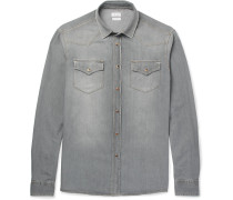 Slim-fit Washed-denim Western Shirt - Gray