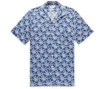 Slim-Fit Camp-Collar Printed Cotton Shirt