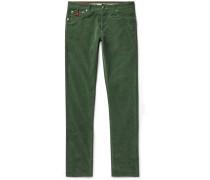 Slim-fit Cotton-blend Corduroy Trousers - Dark green