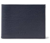 Textured-leather Billfold Wallet - Navy