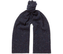 Donegal Wool-blend Scarf - Navy