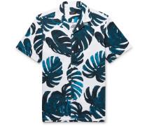 Slim-fit Camp-collar Printed Cotton-seersucker Shirt