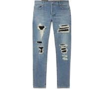 Skinny-fit Panelled Distressed Denim Jeans - Light blue