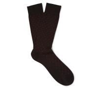Streatham Polka-dot Cotton-blend Socks - Charcoal