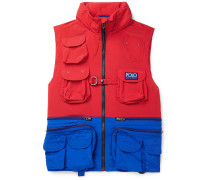 Hi-tech Logo-appliquéd Colour-block Shell Hooded Gilet - Red