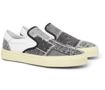 Leather-Trimmed Bandana-Print Canvas Slip-On Sneakers
