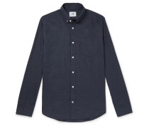 Levon Button-Down Collar Mélange Cotton-Flannel Shirt