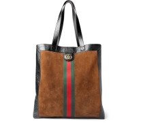 Patent Leather-trimmed Suede Tote Bag