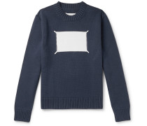 Embroidered Intarsia Cotton-Blend Sweater