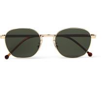 Round-frame Engraved Gold-tone Sunglasses