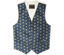 Navy Slim-Fit Silk-Jacquard Waistcoat